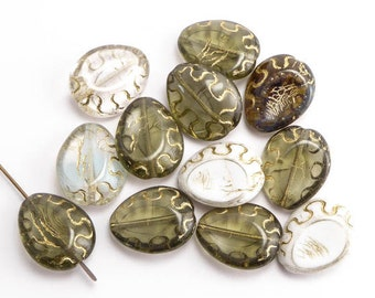 Grey Mix Flat Teardrop Czech Glass Beads, (10 pcs) 18x14mm Oval Beads, Grey Teardrop Beads, Flat Pinched Teardrop, Gray Teardrop OVA0036