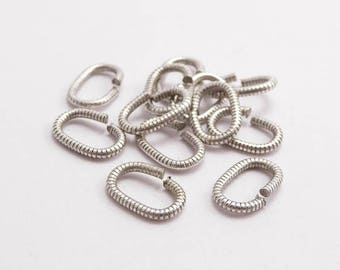 Antique Silver Textured Jumprings, (10pcs) 9x6mm Jumprings, Silver Jumprings, Textured Jumprings, Antique Silver Jumprings JPR0017