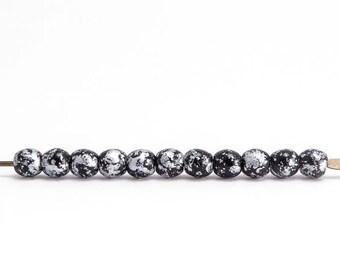 Black Silver Round Czech Glass Beads, (60 pcs) 4mm Round Beads, Black Round Beads, Silver Rain Round Beads, Black Silver Beads RND0315