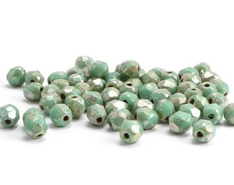 Turquoise Round Czech Glass Beads, (30 pcs) 4mm Round Beads, Turquoise Picasso, Faceted Beads, Fire Polished Beads, Turquoise Round RND0057