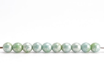 4mm Green Luster Round Czech Glass Beads, (120 pcs)