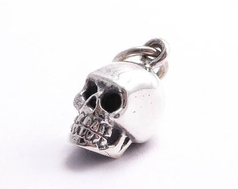 Sterling Silver Skull Charm, (1 pc) 17x6.5x10mm Skull Charms, Halloween Charms, Sterling Silver Charms, Silver Skull CHM0157
