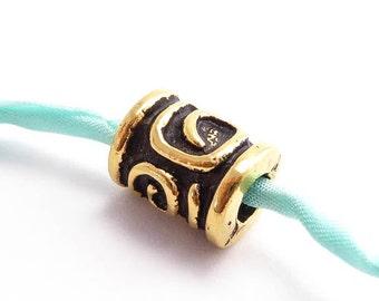 Antique Gold Spiral Barrel Bead Charms, (2 pcs) 10x8mm Barrel Charms, Mykonos Charms, Spiral Barrel Beads, Spiral Key Barrel CHM0208