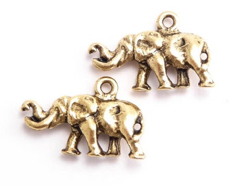 Antique Gold Elephant Charms, (2 pcs) Gold Elephant Charms, Elephant Charms, 20 x 13.7 x 4.1mm, Animal Charms CHM0102