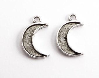 Antique Silver Crescent Moon Bezel Charms, (2 pcs) Moon Charms, Celestial Charms, Moon Pendant, Moon Bezel, Crescent Moon Charm CHM0228