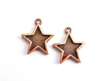 Antique Copper Star Bezel Charms, (2 pcs) Star Charms, Celestial Charms, Star Pendant, Star Bezel, Copper Star Charm CHM0229