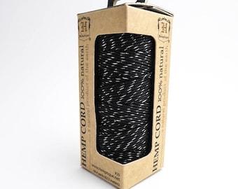 62.5m x Black Silver Hemp Cord, Hemptique Cord, Black Hemp Cord, Metallic Hemp Cord, Black Hemp Cord, Black Macrame Cord HMS0055