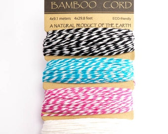 Hemptique Peony Bamboo Bakers Twine Cord Card Set, Hemptique Cord, Peony Bamboo Cord, Bakers Twine Set, Blue Bakers Twine BBC0002