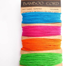 Hemptique Neon Bamboo Card Set, Hemptique Cord, Neon Bamboo Cord, Neon Hemptique, Green Bamboo, Pink Bamboo, Orange Bamboo BBC0001