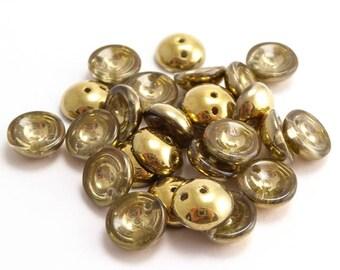 Crystal Gold Piggy Czech Glass Beads, (40 pcs) 4x8mm Gold Piggy Beads, Crystal Piggy Beads, Metallic Piggy Beads PIG0019