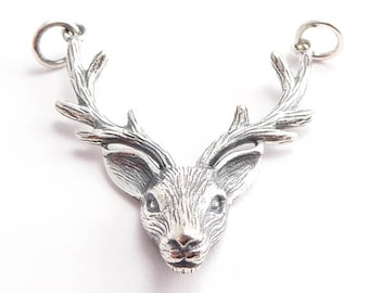 Sterling Silver Stag Head Link Charm, (1 pc) 32x28x6mm Deer Charms, Stag Charms, Sterling Silver Charms, Silver Stag Charm CHM0174
