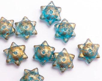Blue Gold Round Star Czech Glass Beads, (10 pcs) 6x12mm Star Beads, Blue Star Beads, Saturn Star Beads, Round Star Beads STR0013