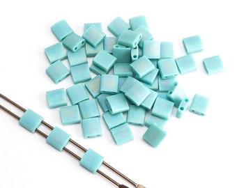 Turquoise Green Matt AB Miyuki Tila Beads, (5 grams) 5x5mm Tila Beads, AB Beads, Japanese Beads, Seed Beads, AB Tila Beads MIY0003