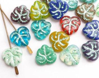 Bright Decorative Leaf Czech Glass Beads, (8 pcs) 13x12mm Bright Leaf Beads, Czech Glass Leaf Beads, Leaf Beads, Metallic Leaf Beads LEA0089