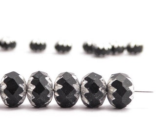 Black Silver Cruller Czech Glass Beads, (10 pcs) 7x10mm Black Cruller Beads, Silver Cruller Beads, Black Silver Beads CRL0007