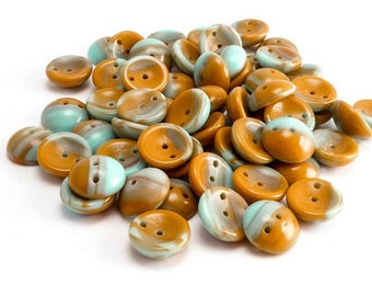 Mustard Blue Piggy Czech Glass Beads, (60 pcs) 4x8mm Piggy Beads, Mustard Piggy Beads, Blue Piggy Beads, Blue Dome Beads PIG0016