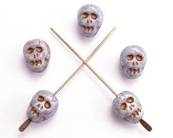 Blue Skull Glass Czech Glass Beads, (8 pcs) 12x9mm Glass Skull Beads, Skull Beads, Czech Skull Beads, Grey Skull Beads SKL0002