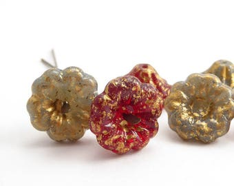 Mixed Bell Flower Czech Glass Beads, (6 pcs) 15x8mm Grey Flower Beads, Red Flower Beads, Gray Flower Beads FLW0473