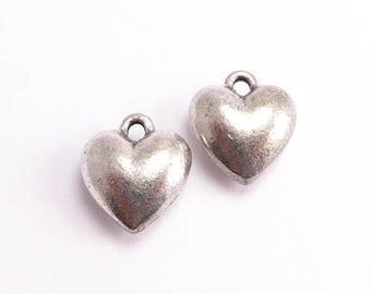 Antique Silver Heart Charms, (2 pcs) Heart Charms, Antique Silver Heart Charms, Chunky Heart Charms, Nunn Design Charm, Silver Plate CHM0091