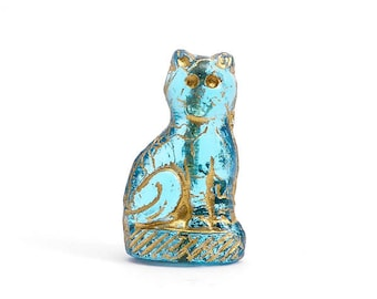Blue Cat Czech Glass Beads, (3 pcs) 24x14mm Cat Beads, Sitting Cat Beads, Gold Cat Beads, Blue Cat Beads, Blue Animal Beads ANM0112