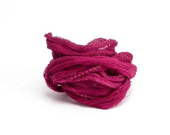 Magenta Crinkle Silk Ribbon, Magenta Ribbon, Magenta Silk Ribbon, Magenta Cord, Magenta Fairy Ribbon, Magenta Bracelet Silk SSR0028