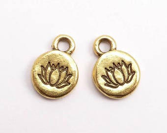Antique Gold Lotus Charms, (2 pcs) Lotus Charms, Antique Gold Flower Charms, Antique Gold Lotus Flower Charms, Gold Lotus CHM0219