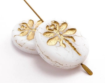 White Dragonfly Coin Czech Glass Beads (2 pcs) 23mm Dragonfly Beads, Dragonfly Coin Beads, White Dragonfly Beads, Animal Beads ANM0051