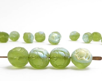 Fern Green AB Rosebud Czech Glass Beads, (20 pcs) 9mm Rosebud Beads, Green Flower Beads, AB Flower Beads, Green AB Beads FLW0205