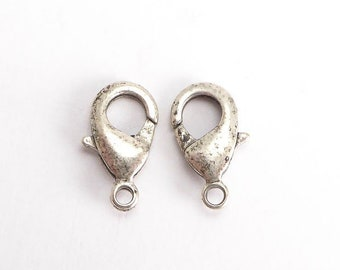 Large Antique Silver Plate Lobster Clasps, (2 pcs) 15mm Clasps, Large Lobster Clasps, Antique Silver Clasps, Antique Silver Lobster CLP0014
