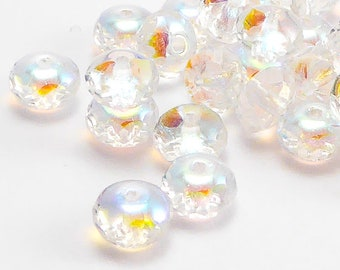 90 pcs Clear AB Rondelle Czech Glass Beads, 4x7mm Rondelle Beads, Gemstone Donut Beads, GMD0040