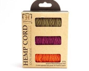 Oregon Trail Hemp Cord Spool Set, 1mm Hemp Cord Set, Hemptique, Bright Hemp Cord, Hemp Mini Spool Set, Pink Hemp Cord HMS0063
