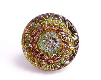 Flower Czech Glass Button, 22mm Czech Button, Flower Button BUT0053