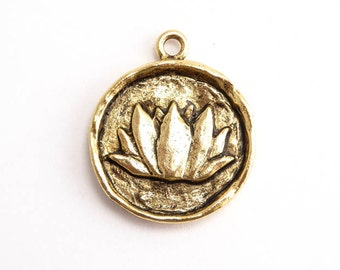 Antique Gold Lotus Charm, (1 pc) Gold Charms, Lotus Charms, Round Lotus Charm, Nunn Design Charms 23.4 x 19.8 x 2.8mm CHM0143