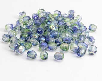 Blue Green AB Round Czech Glass Beads, (100 pcs) 4mm Round Faceted Beads, Blue AB Beads, Blue Round Beads, Green AB Round Beads RND0331