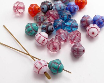 Bright Saturn Czech Glass Beads, (10 pcs) 9mm Blue Saucer Beads, Bright Flower Beads, Bright Fizgig Beads, Bright UFO Beads SAT0017