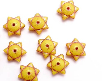 Yellow Round Star Czech Glass Beads, (10 pcs) 6x12mm Star Beads, Yellow Star Beads, Pink Stars, Saturn Star Beads, Round Star Beads STR0012