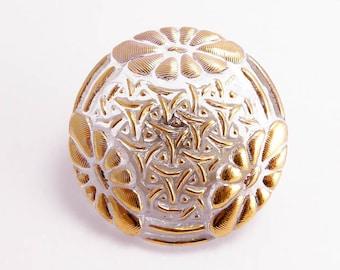 Flower Czech Glass Button, 28mm Czech Button, BUT0059