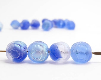 Azure Blue AB Rosebud Czech Glass Beads, (20 pcs) 9mm Rosebud Beads, Blue Flower Beads, AB Flower Beads, Blue AB Beads, Blue Rose FLW0194