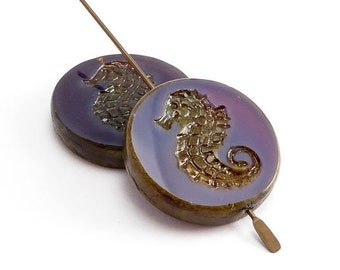 Purple Seahorse Coin Czech Glass Beads, (2 pcs) 23mm Seahorse Coin Beads, Purple Beads, Seahorse Beads, Purple Picasso Beads ANM0060