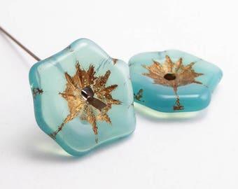 Seafoam Flower Czech Glass Beads, (2 pcs) 20mm Flower Beads, FLW0466