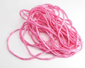Pink Thin Silk Cord, (1 Strand) Pink Ribbon, Pink Silk Ribbon, Pink Cord, Pink Silk Cord, Pink Bracelet Silk, Pink Necklace Cord SSR0054