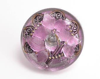 Pink Flower Czech Glass Button, 27mm Czech Button, BUT0081