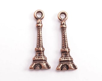 Antique Copper Eiffel Tower Charms, (2 pcs) Eiffel Tower Charms, Antique Copper Tower, Antique Copper French Charms, Copper Eiffel CHM0214
