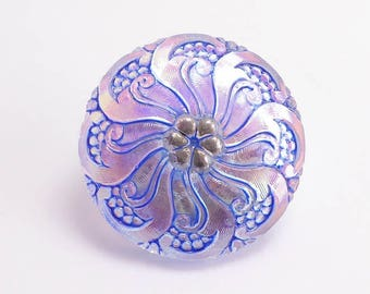 Blue Czech Glass Button, 27mm Czech Button, Hand Painted Button BUT0080