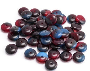 Blue Red Flying Saucer Czech Glass Beads, (30 pcs) 9mm Red Disc Beads, Blue Disc Beads, Red Blue Washer Beads FLS0014