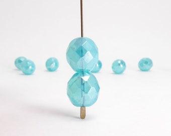 Blue Luster Round Czech Glass Beads, (6 pcs) 12mm Round Faceted Beads, Blue Luster Round Beads, Blue Round Beads, Blue Faceted Beads RND0278