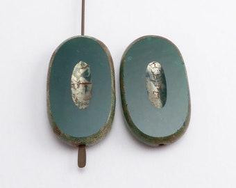 Green Oval Czech Glass Beads, (2 pcs) 26x15mm Oval Beads, Green Oval Beads, Table Cut Beads, Table Cut Oval Beads, Large Green Beads OVA0092