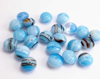 Blue Stripey Rondelle Czech Glass Beads, (15 pcs) Blue Rondelle Beads, Stripey Rondelle Beads, Striped Beads, Blue Beads, Blue Glass RON0003