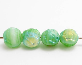 Apple Green AB Rosebud Czech Glass Beads, (20 pcs) 9mm Rosebud Beads, Green Flower Beads, AB Flower Beads, Green AB Beads FLW0209