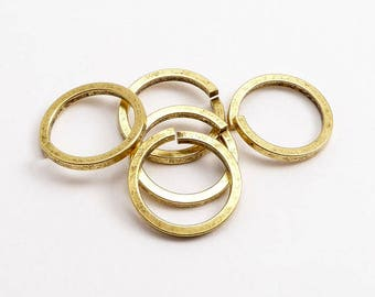 Antique Gold Square Wire Jump Rings, (5 pcs) 12mm Jump Rings, Antique Gold Jump Rings, Large Jump Rings, Antique Gold Findings JPR0026